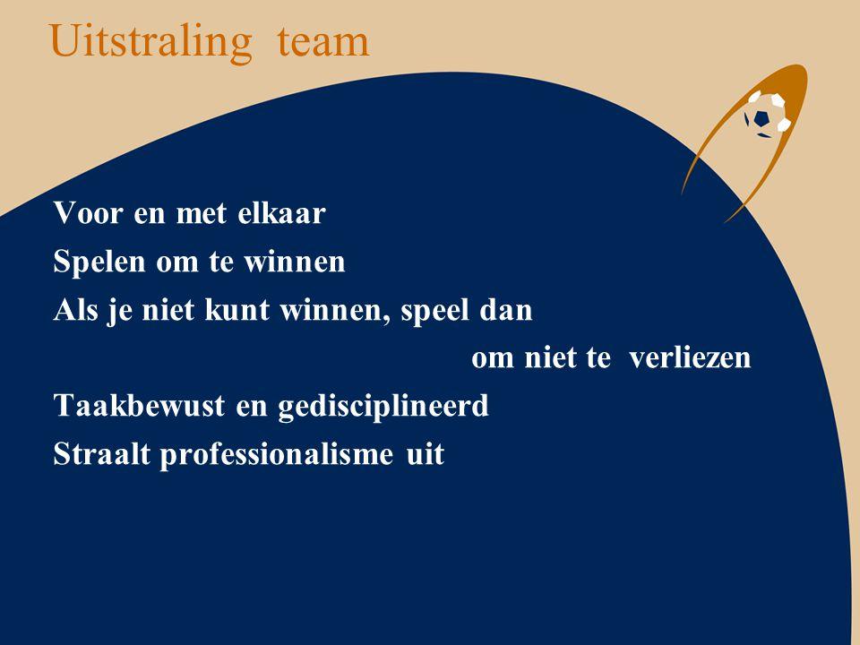 Uitstraling team Voor en met elkaar Spelen om te winnen Als je niet kunt winnen, speel dan om niet te verliezen Taakbewust en gedisciplineerd Straalt