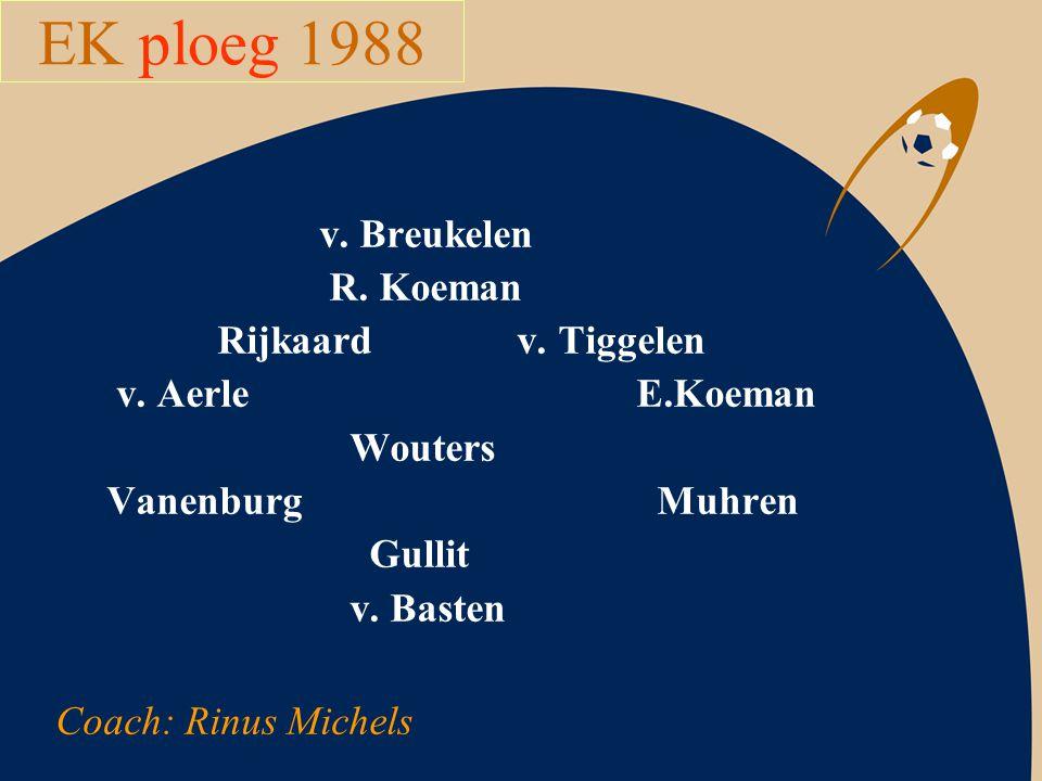 EK ploeg 1988 v. Breukelen R. Koeman Rijkaard v. Tiggelen v. Aerle E.Koeman Wouters Vanenburg Muhren Gullit v. Basten Coach: Rinus Michels