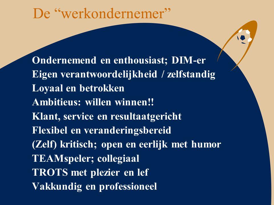"""De """"werkondernemer"""" Ondernemend en enthousiast; DIM-er Eigen verantwoordelijkheid / zelfstandig Loyaal en betrokken Ambitieus: willen winnen!! Klant,"""