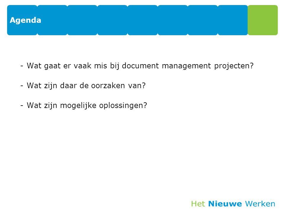 Agenda -Wat gaat er vaak mis bij document management projecten? -Wat zijn daar de oorzaken van? -Wat zijn mogelijke oplossingen?