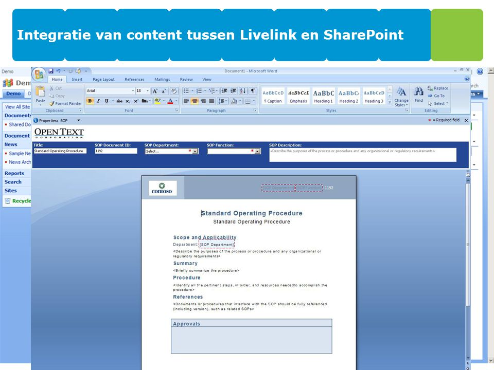 Integratie van content tussen Livelink en SharePoint