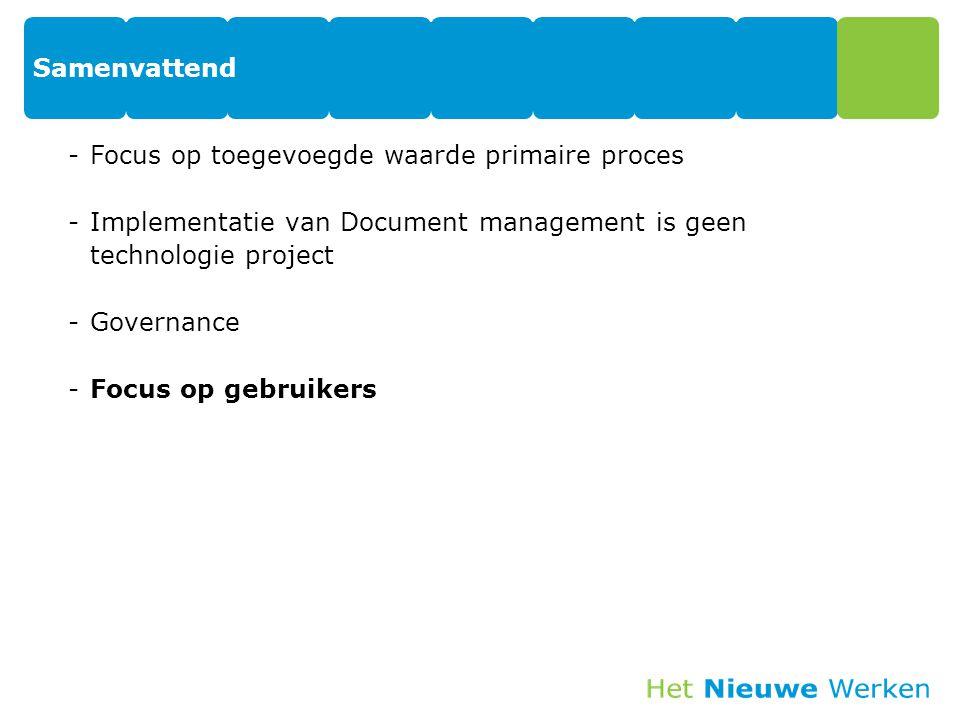 Samenvattend -Focus op toegevoegde waarde primaire proces -Implementatie van Document management is geen technologie project -Governance -Focus op geb
