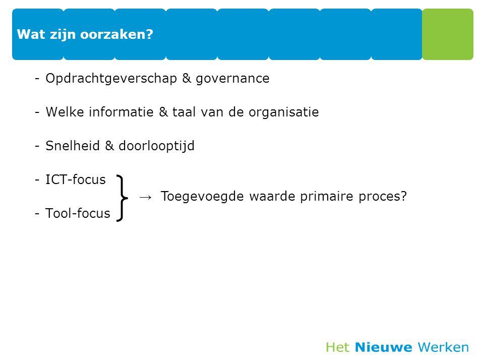 Wat zijn oorzaken? -Opdrachtgeverschap & governance -Welke informatie & taal van de organisatie -Snelheid & doorlooptijd -ICT-focus -Tool-focus → Toeg