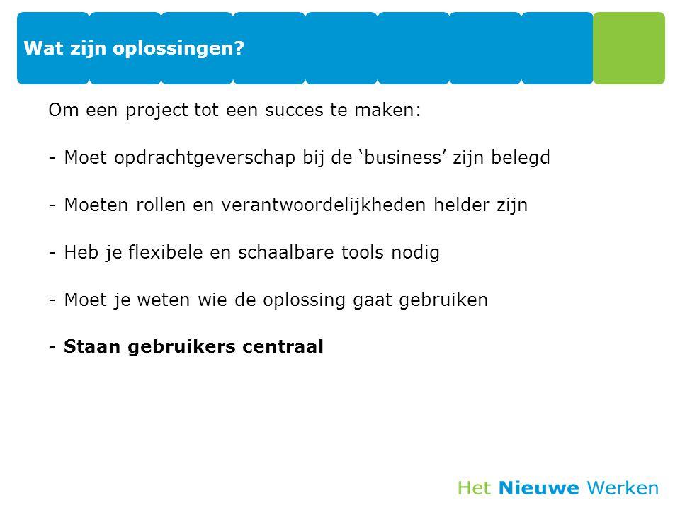 Wat zijn oplossingen? Om een project tot een succes te maken: -Moet opdrachtgeverschap bij de 'business' zijn belegd -Moeten rollen en verantwoordelij