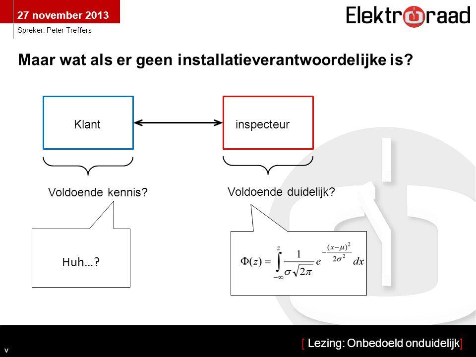 27 november 2013 [ Lezing: Onbedoeld onduidelijk] Spreker: Peter Treffers v Als er geen installatieverantwoordelijke is… …is er geen sprake van een NEN 3140-inspectie.