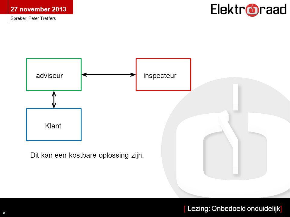 27 november 2013 [ Lezing: Onbedoeld onduidelijk] Spreker: Peter Treffers v Klant inspecteuradviseur Dit kan een kostbare oplossing zijn.