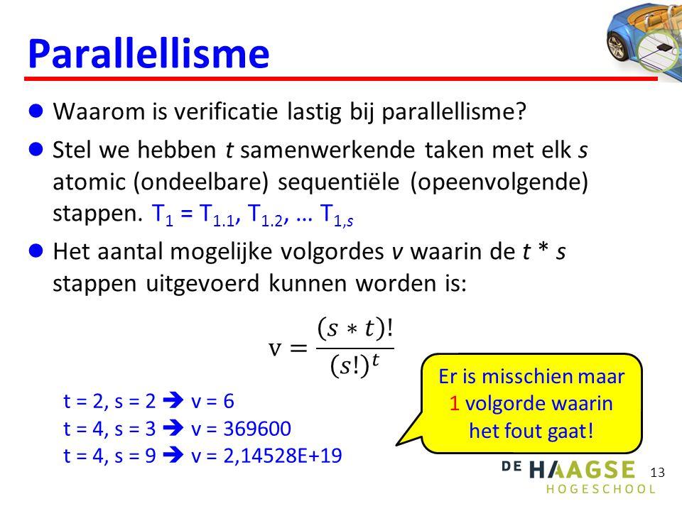 Parallellisme 13 t = 2, s = 2  v = 6 t = 4, s = 3  v = 369600 t = 4, s = 9  v = 2,14528E+19 Er is misschien maar 1 volgorde waarin het fout gaat!