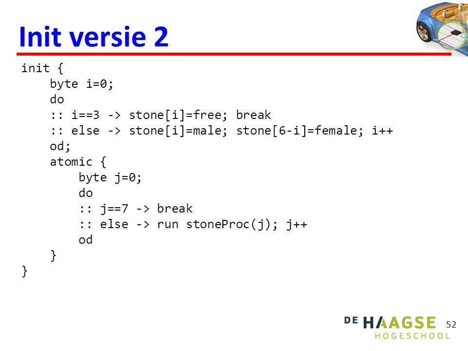 52 Init versie 2 init { byte i=0; do :: i==3 -> stone[i]=free; break :: else -> stone[i]=male; stone[6-i]=female; i++ od; atomic { byte j=0; do :: j==