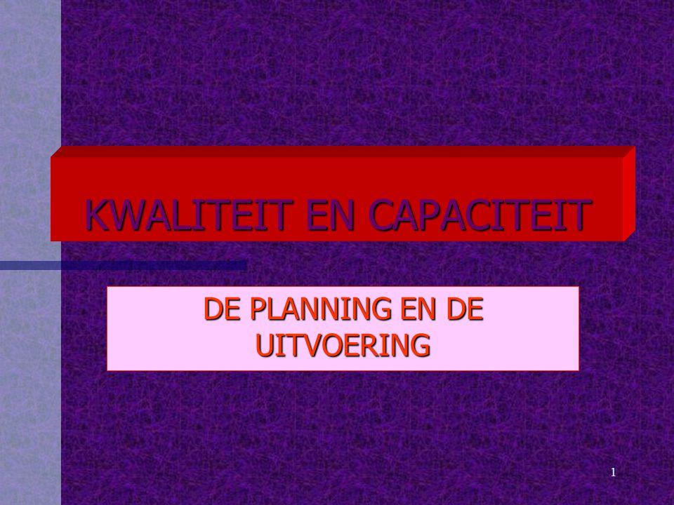 1 KWALITEIT EN CAPACITEIT DE PLANNING EN DE UITVOERING