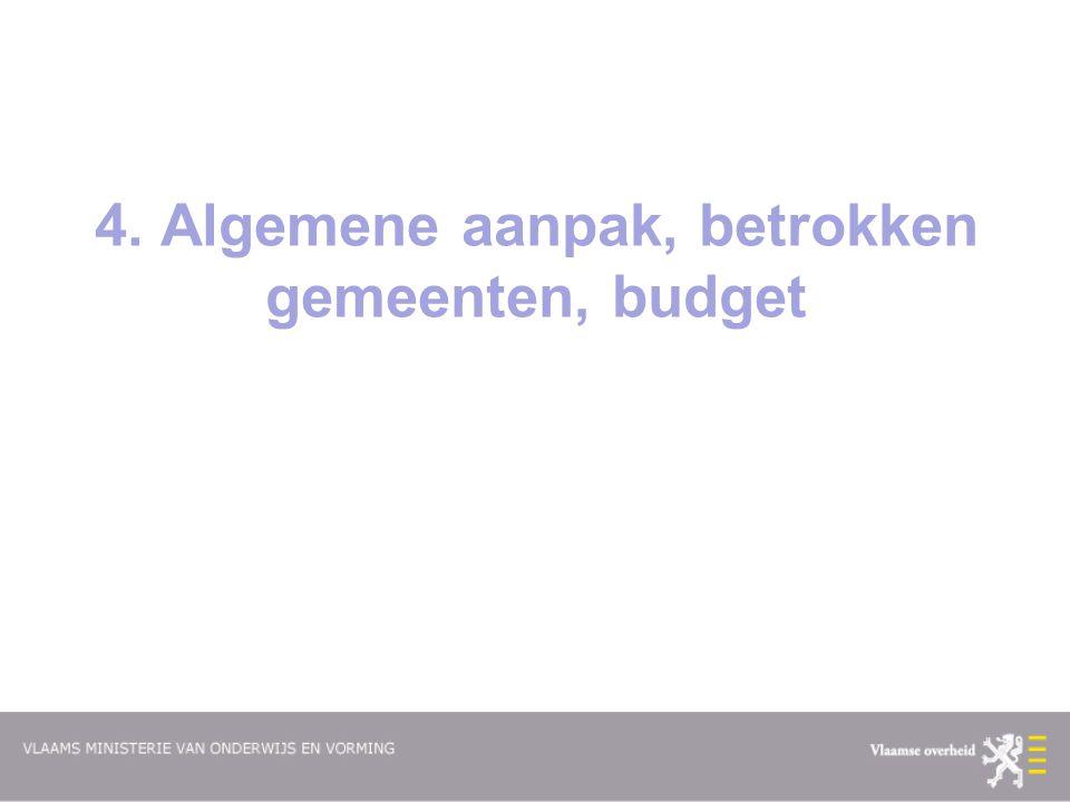 4. Algemene aanpak, betrokken gemeenten, budget