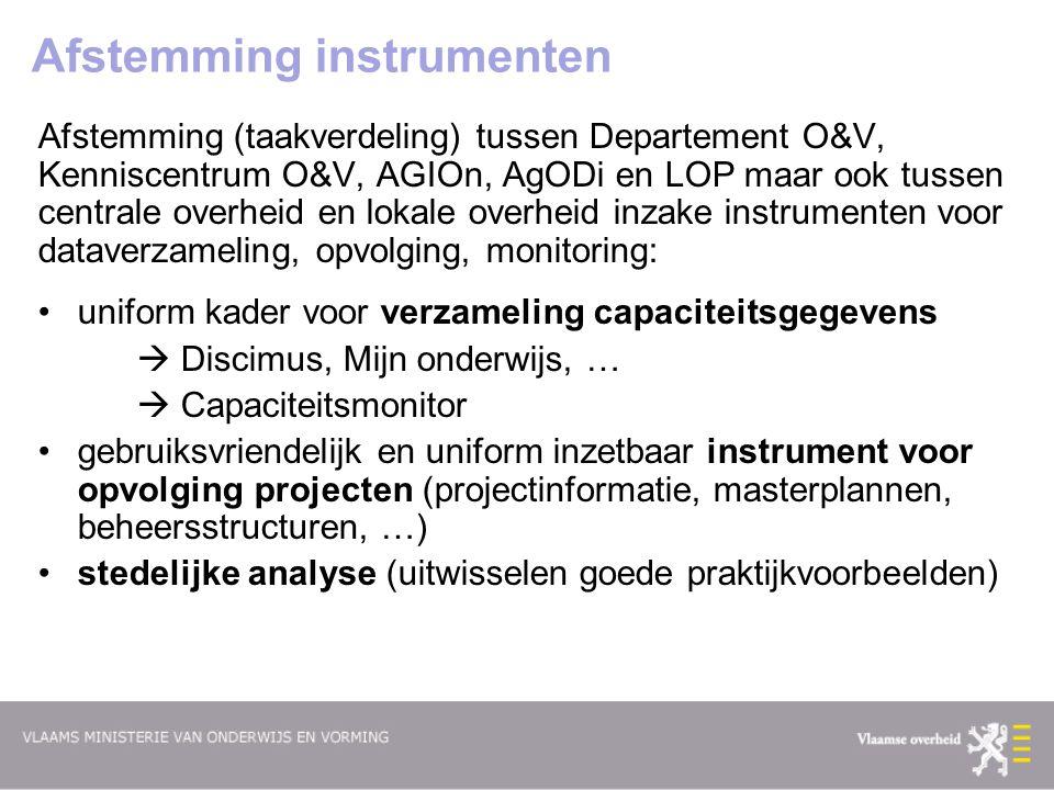 Afstemming instrumenten Afstemming (taakverdeling) tussen Departement O&V, Kenniscentrum O&V, AGIOn, AgODi en LOP maar ook tussen centrale overheid en
