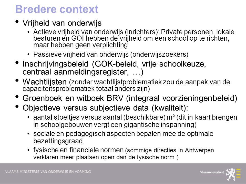 Bredere context Vrijheid van onderwijs Actieve vrijheid van onderwijs (inrichters): Private personen, lokale besturen en GO.