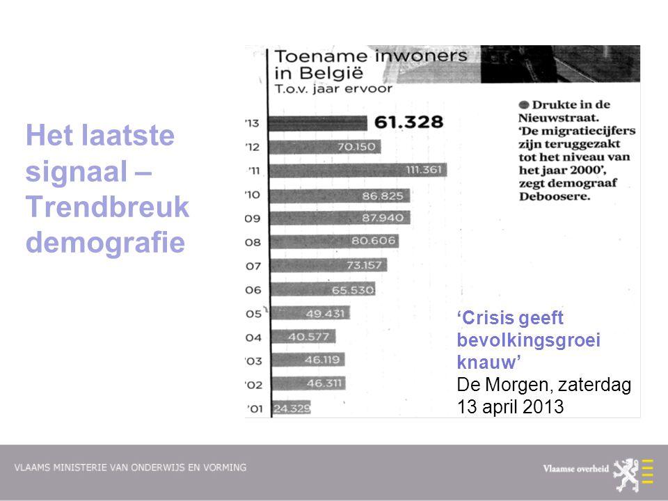 Het laatste signaal – Trendbreuk demografie 'Crisis geeft bevolkingsgroei knauw' De Morgen, zaterdag 13 april 2013