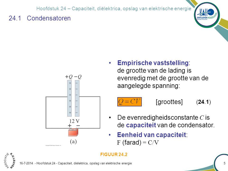 Hoofdstuk 24 – Capaciteit, diëlektrica, opslag van elektrische energie 16-7-2014 - Hoofdstuk 24 - Capaciteit, diëlektrica, opslag van elektrische ener