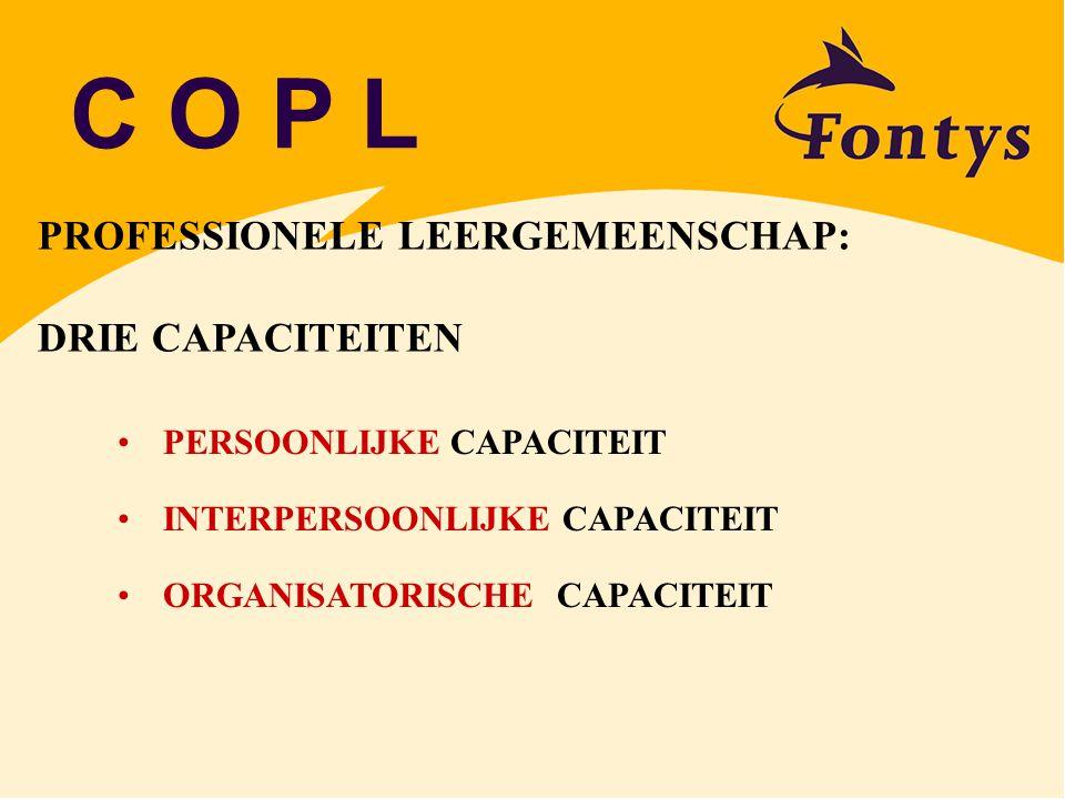 C O P L PROFESSIONELE LEERGEMEENSCHAP: DRIE CAPACITEITEN PERSOONLIJKE CAPACITEIT INTERPERSOONLIJKE CAPACITEIT ORGANISATORISCHE CAPACITEIT