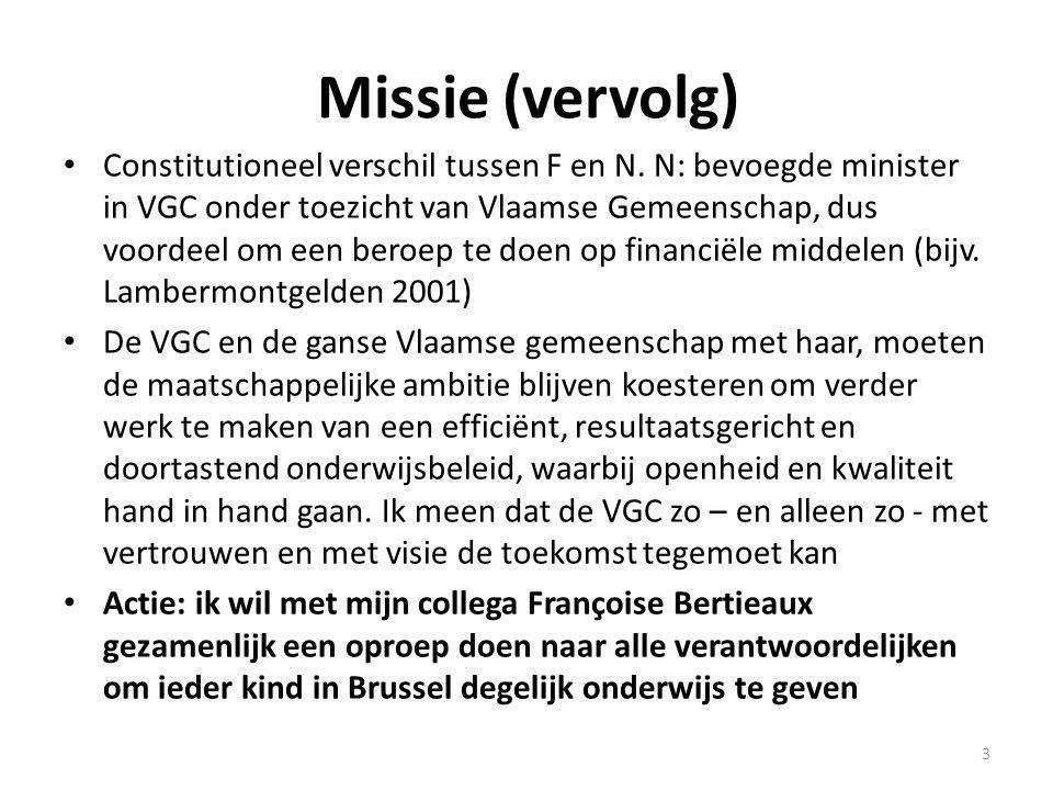 Uitgangspunt Bevolkingsaangroei in Brussel: 1.200.000 in 2020 - meer scholen Twee onafhankelijke studies (Janssens, 2008 – BISA, 2010) besluiten: 15.000 tot 18.000 nieuwe plaatsen nodig BISA: voor het N-onderwijs: 3.600 tegen 2015 (1/5 de ) BISA: voor het F-onderwijs: 14.400 tegen 2015 (4/5 de ) BISA: 39 nieuwe basisscholen nodig BISA: 2010-2020: + 41.794 kinderen tussen 0 en 14 jaar Vooral in kleuteronderwijs en eerste jaar capaciteitstekort 4