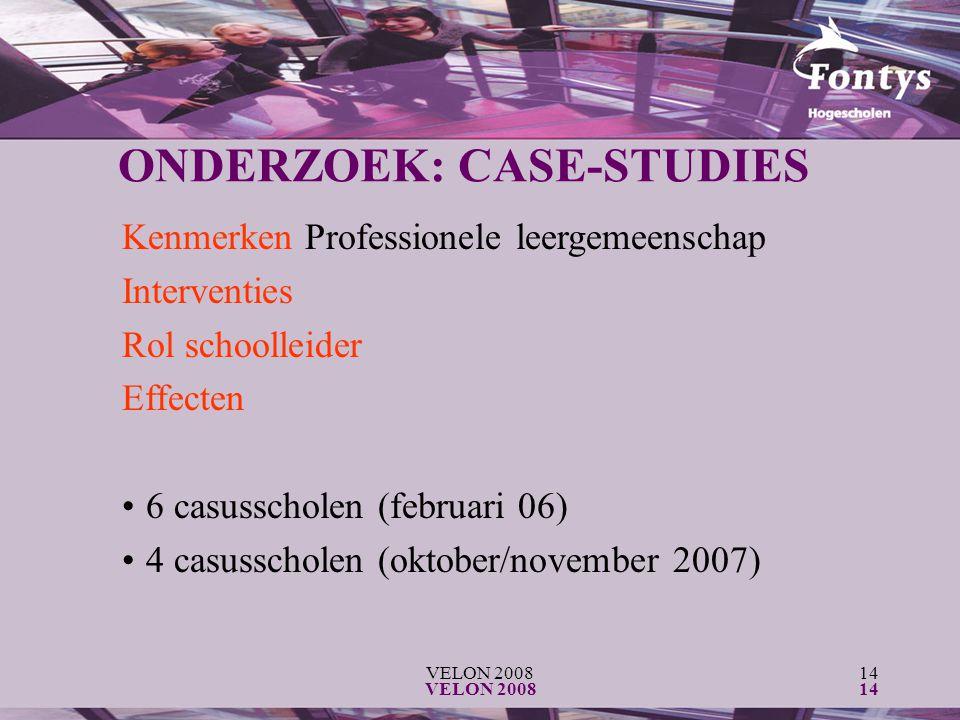 VELON 200814 VELON 200814 ONDERZOEK: CASE-STUDIES Kenmerken Professionele leergemeenschap Interventies Rol schoolleider Effecten 6 casusscholen (febru