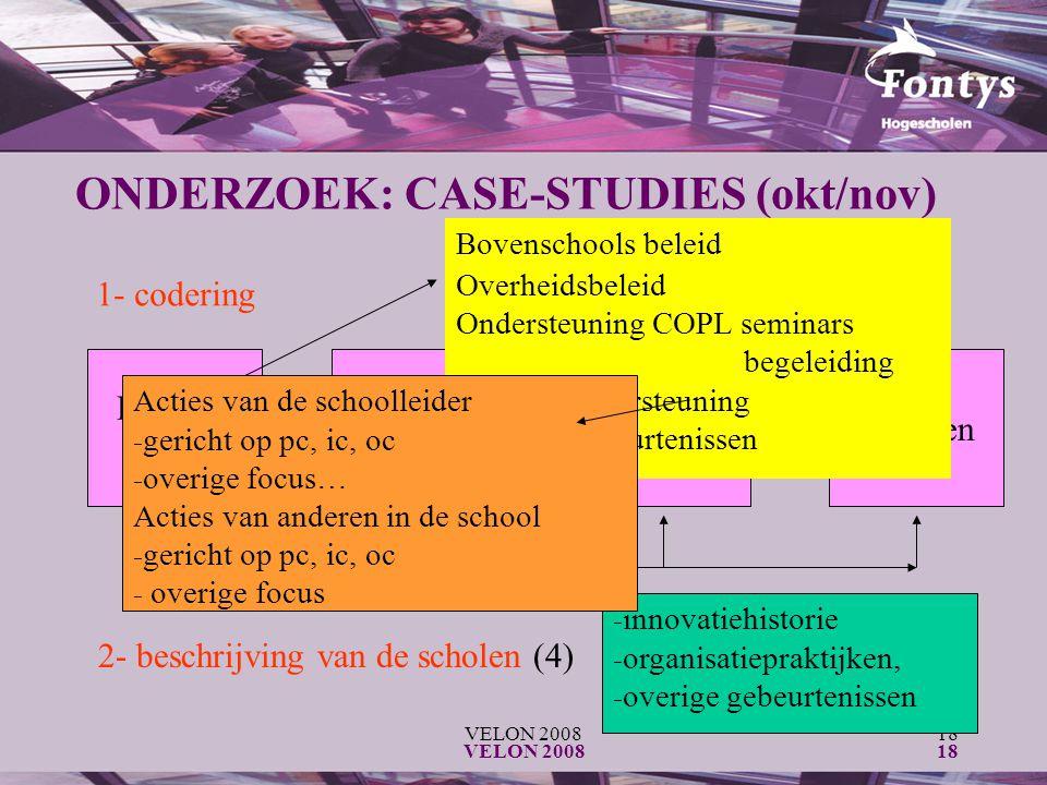 VELON 200818 VELON 200818 ONDERZOEK: CASE-STUDIES (okt/nov) 1- codering Externe context Interne context InterventiesEffecten 2- beschrijving van de scholen (4) Bovenschools beleid Overheidsbeleid Ondersteuning COPL seminars begeleiding Overige ondersteuning Overige gebeurtenissen - innovatiehistorie - organisatiepraktijken, - overige gebeurtenissen Acties van de schoolleider - gericht op pc, ic, oc - overige focus… Acties van anderen in de school - gericht op pc, ic, oc - overige focus