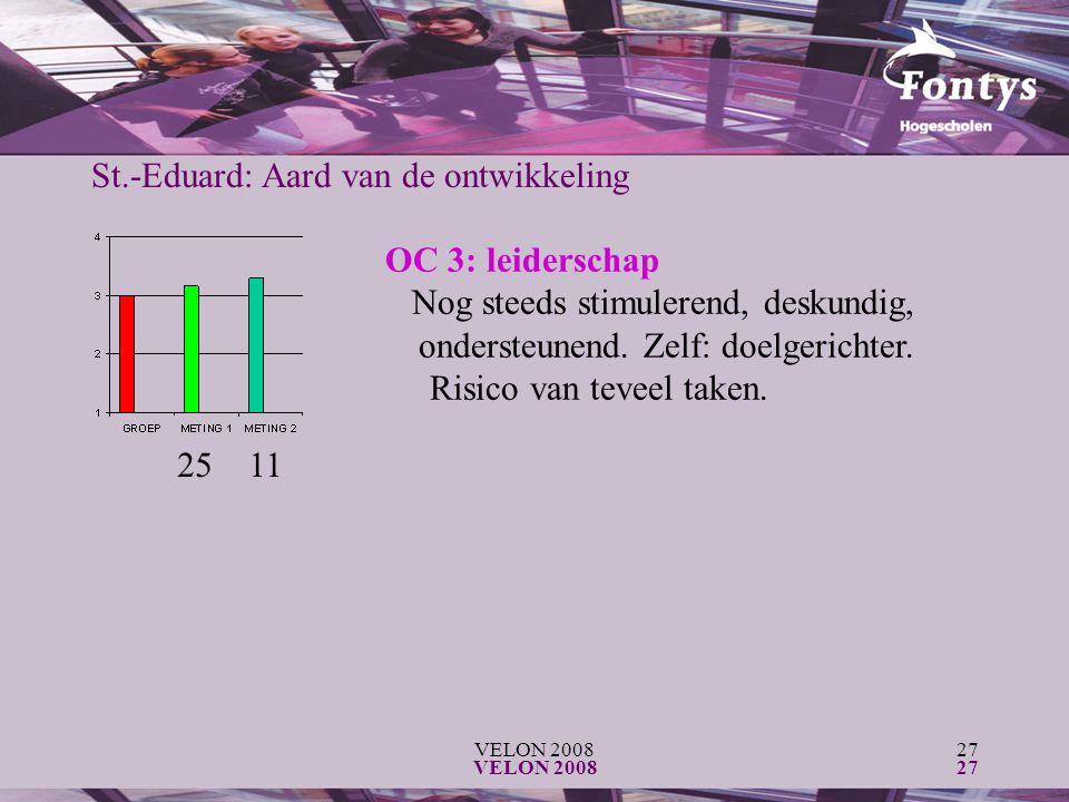 VELON 200827 VELON 200827 OC 3: leiderschap Nog steeds stimulerend, deskundig, ondersteunend. Zelf: doelgerichter. Risico van teveel taken. 25 11 St.-