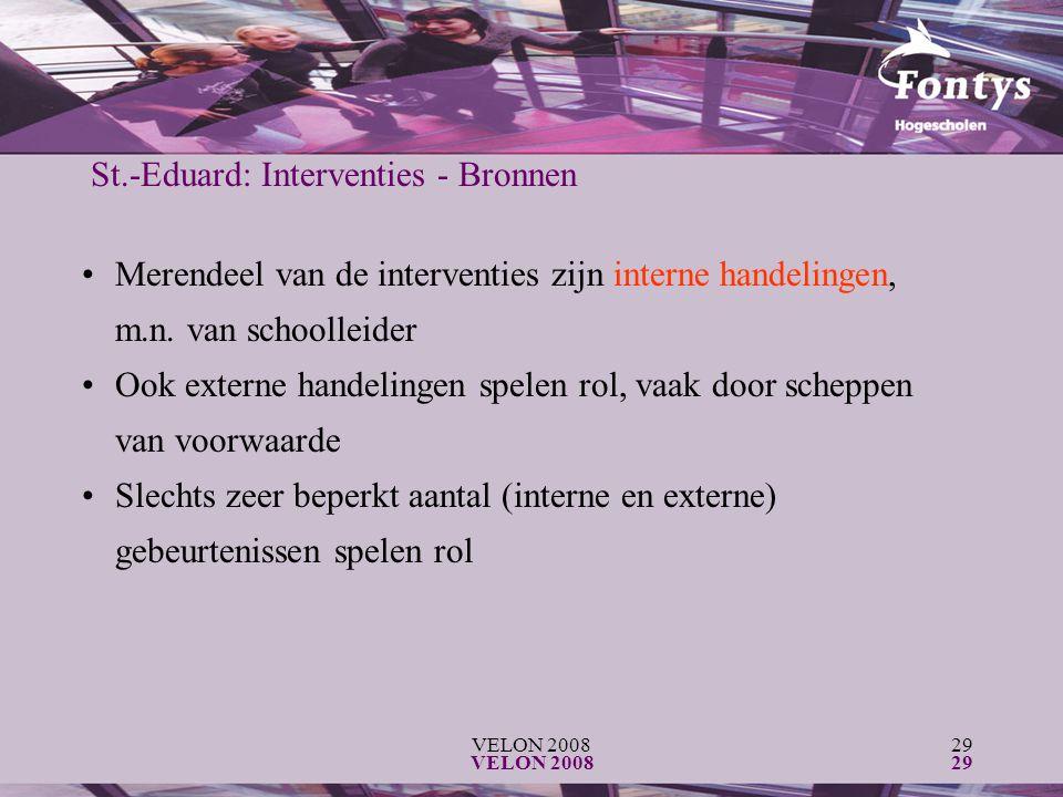 VELON 200829 VELON 200829 St.-Eduard: Interventies - Bronnen Merendeel van de interventies zijn interne handelingen, m.n. van schoolleider Ook externe