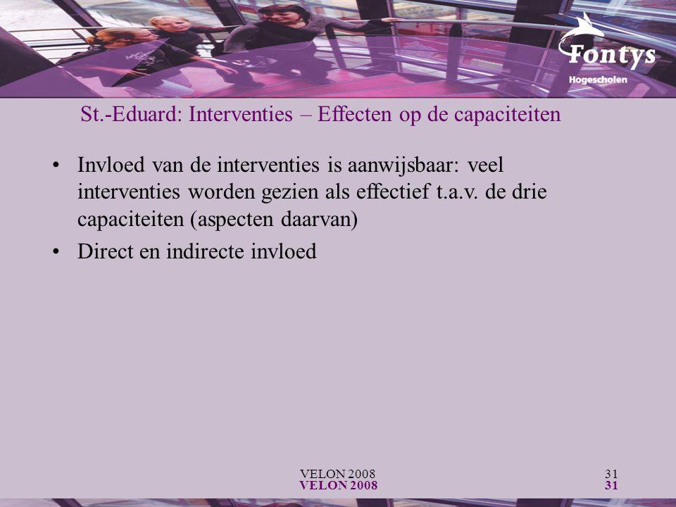 VELON 200831 VELON 200831 St.-Eduard: Interventies – Effecten op de capaciteiten Invloed van de interventies is aanwijsbaar: veel interventies worden gezien als effectief t.a.v.