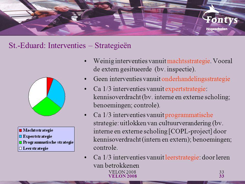 VELON 200833 VELON 200833 Weinig interventies vanuit machtsstrategie. Vooral de extern gesitueerde (bv. inspectie). Geen interventies vanuit onderhand
