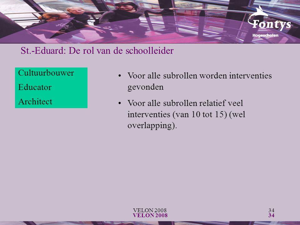 VELON 200834 VELON 200834 St.-Eduard: De rol van de schoolleider Cultuurbouwer Educator Architect Voor alle subrollen worden interventies gevonden Voor alle subrollen relatief veel interventies (van 10 tot 15) (wel overlapping).