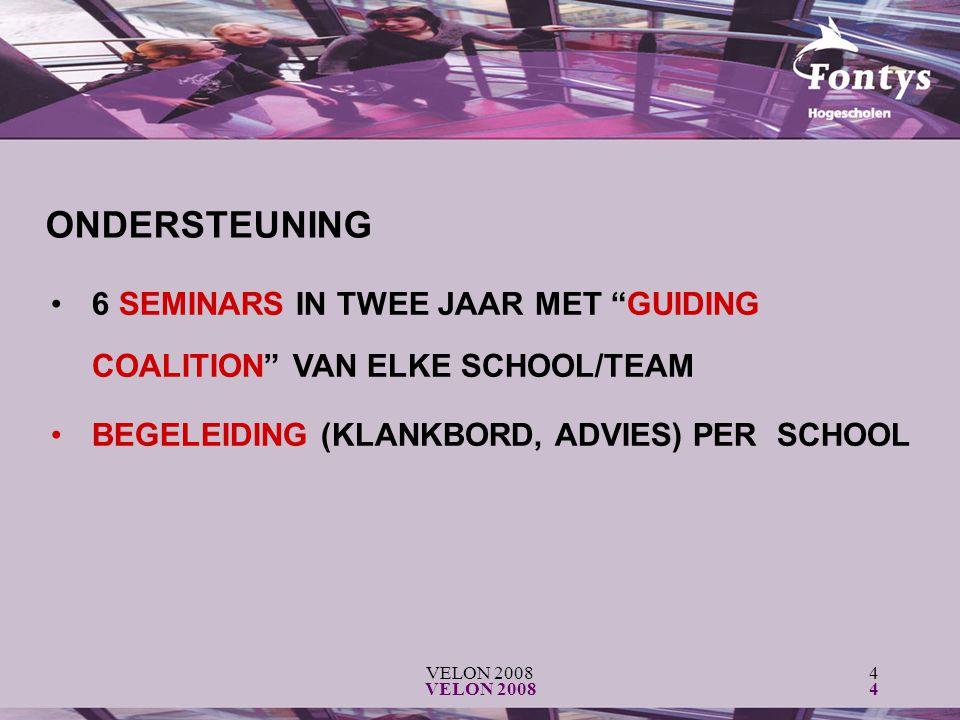 "VELON 20084 4 6 SEMINARS IN TWEE JAAR MET ""GUIDING COALITION"" VAN ELKE SCHOOL/TEAM BEGELEIDING (KLANKBORD, ADVIES) PER SCHOOL ONDERSTEUNING"