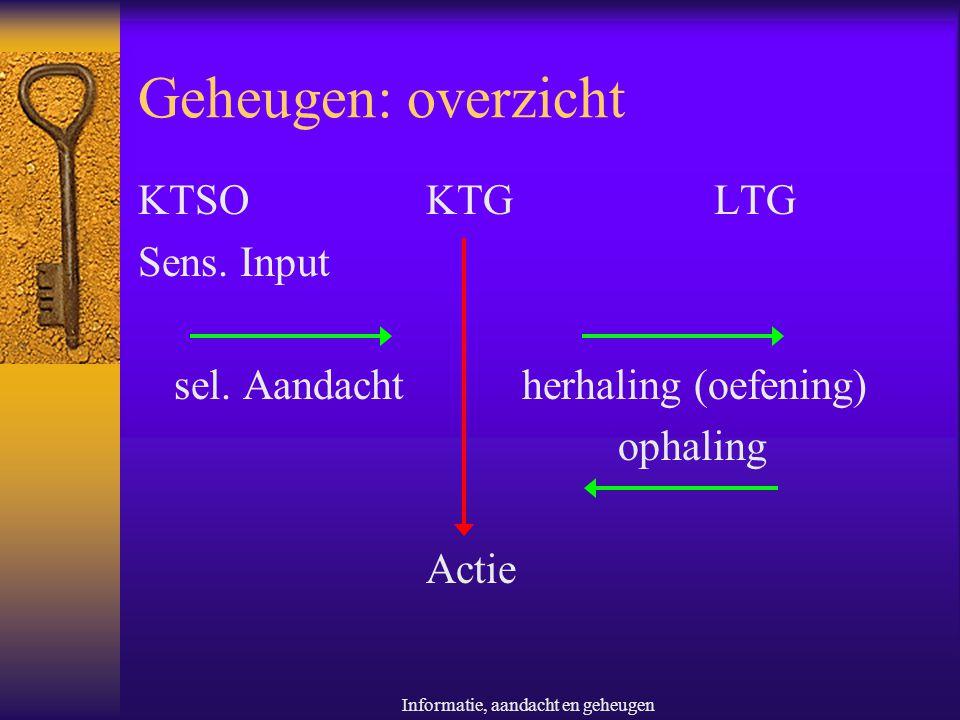 Informatie, aandacht en geheugen Geheugen: overzicht KTSOKTGLTG Sens. Input sel. Aandachtherhaling (oefening) ophaling Actie