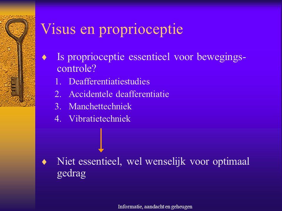 Informatie, aandacht en geheugen Visus en proprioceptie  Is proprioceptie essentieel voor bewegings- controle? 1.Deafferentiatiestudies 2.Accidentele