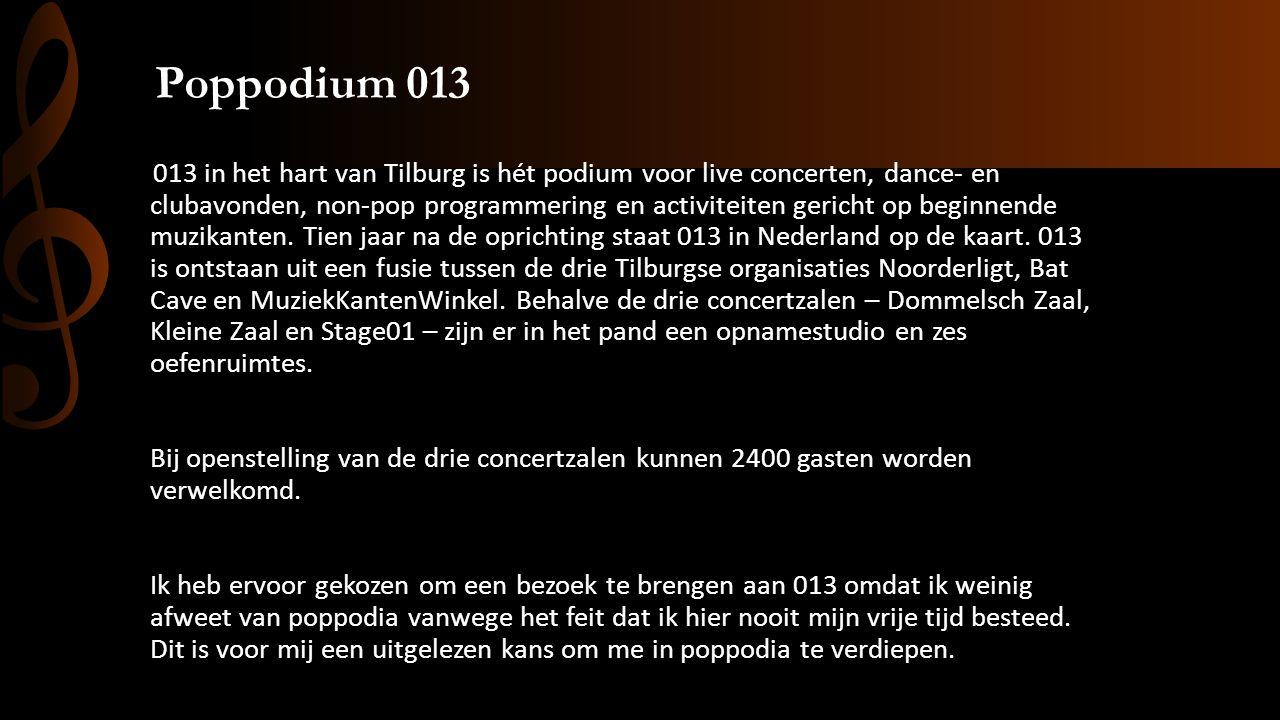 Poppodium 013 013 in het hart van Tilburg is hét podium voor live concerten, dance- en clubavonden, non-pop programmering en activiteiten gericht op beginnende muzikanten.