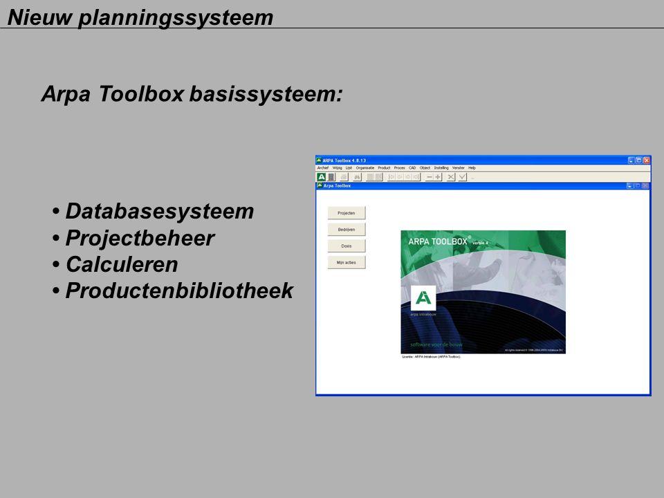 Nieuw planningssysteem Arpa Toolbox basissysteem: Databasesysteem Projectbeheer Calculeren Productenbibliotheek