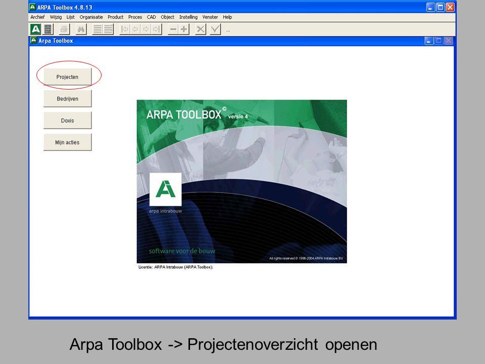 Arpa Toolbox -> Projectenoverzicht openen