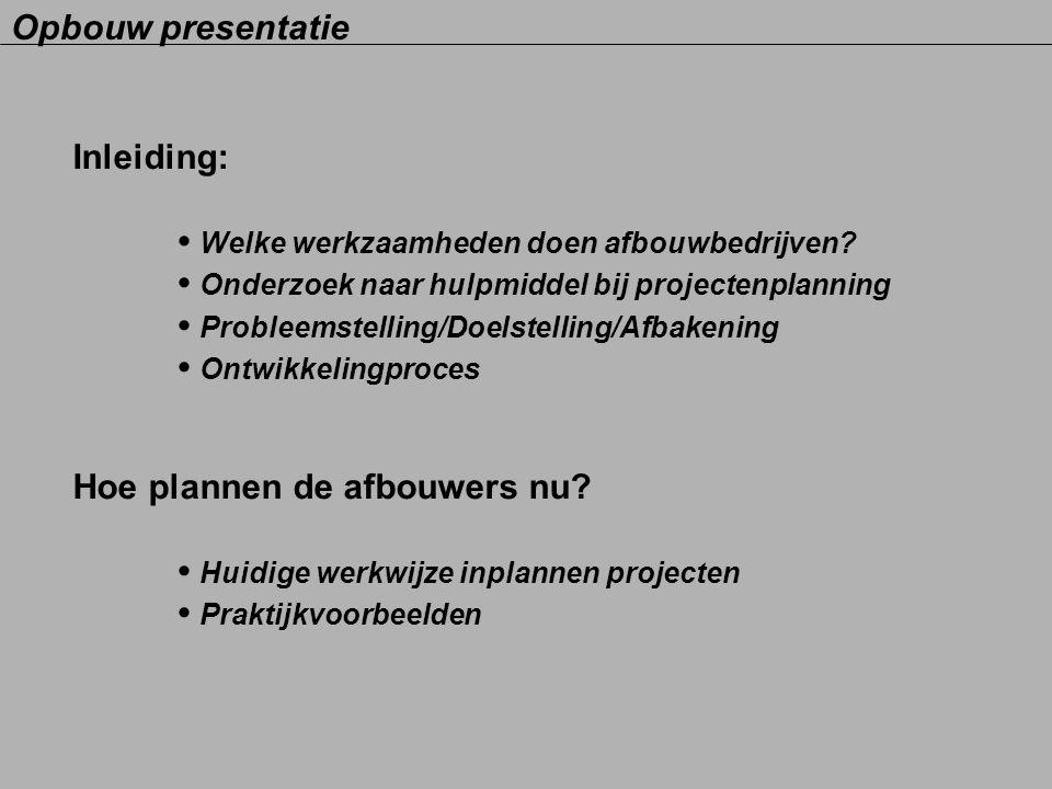 Inleiding: Welke werkzaamheden doen afbouwbedrijven? Onderzoek naar hulpmiddel bij projectenplanning Probleemstelling/Doelstelling/Afbakening Ontwikke