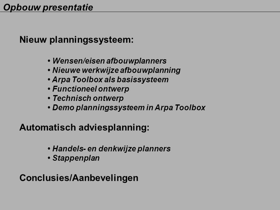 Nieuw planningssysteem: Wensen/eisen afbouwplanners Nieuwe werkwijze afbouwplanning Arpa Toolbox als basissysteem Functioneel ontwerp Technisch ontwer