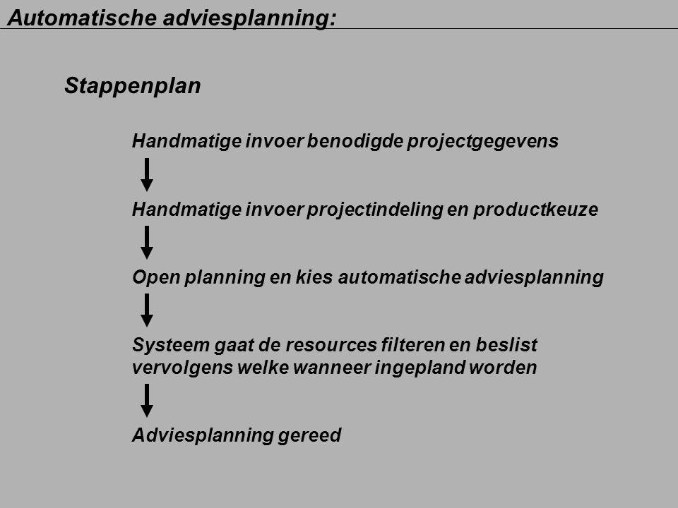 Stappenplan Handmatige invoer benodigde projectgegevens Handmatige invoer projectindeling en productkeuze Open planning en kies automatische adviespla