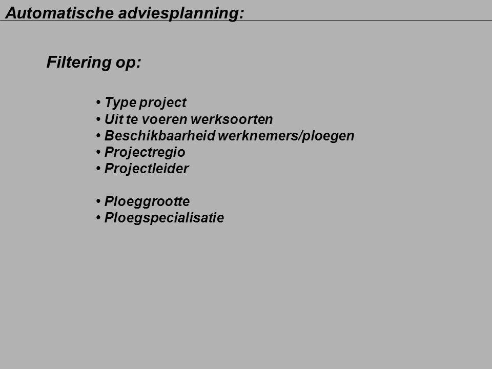Filtering op: Type project Uit te voeren werksoorten Beschikbaarheid werknemers/ploegen Projectregio Projectleider Ploeggrootte Ploegspecialisatie Aut