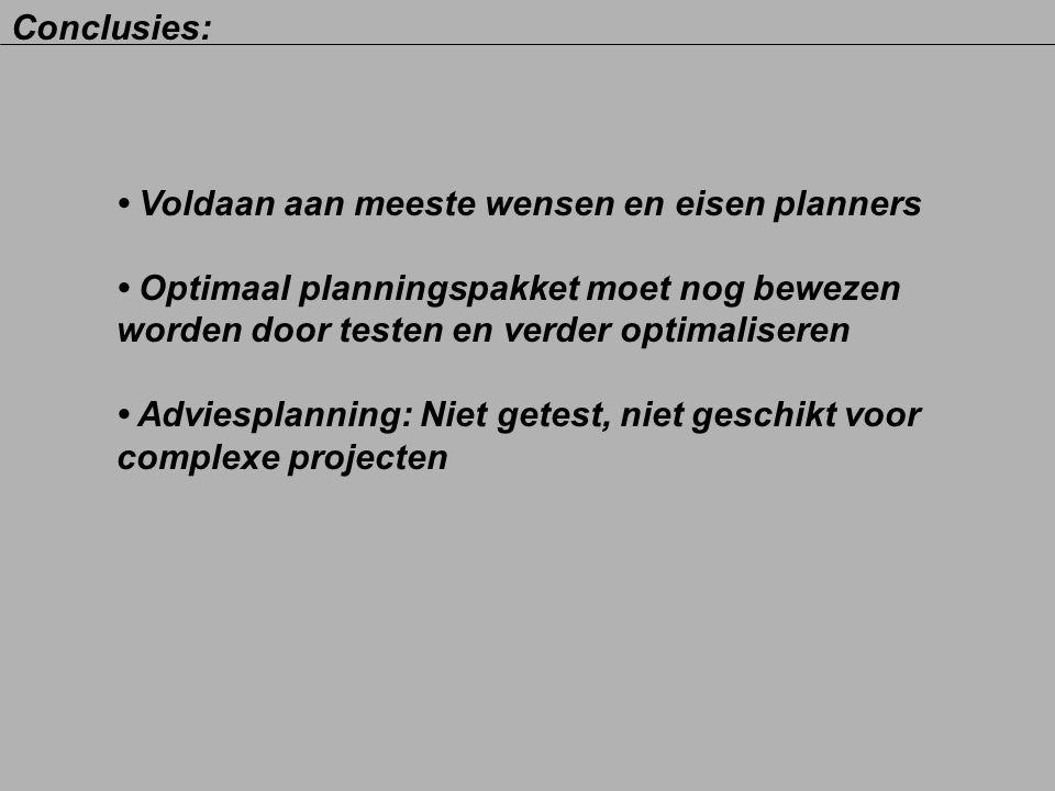 Voldaan aan meeste wensen en eisen planners Optimaal planningspakket moet nog bewezen worden door testen en verder optimaliseren Adviesplanning: Niet