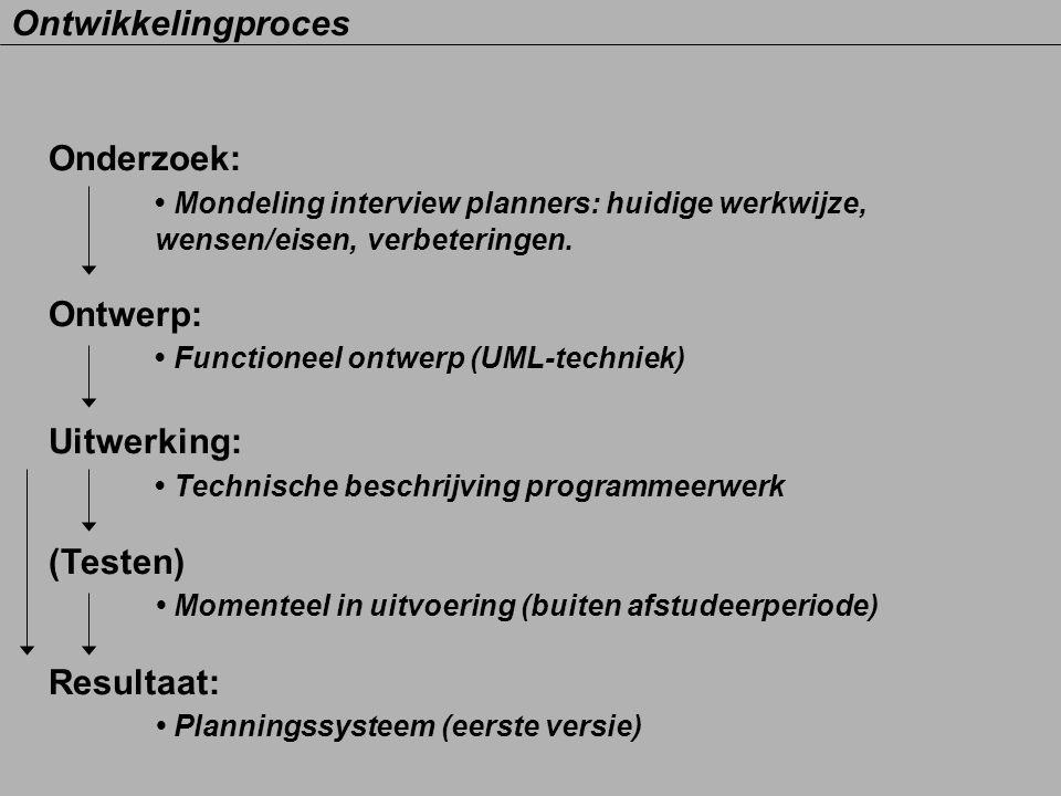 Onderzoek: Mondeling interview planners: huidige werkwijze, wensen/eisen, verbeteringen. Ontwerp: Functioneel ontwerp (UML-techniek) Uitwerking: Techn