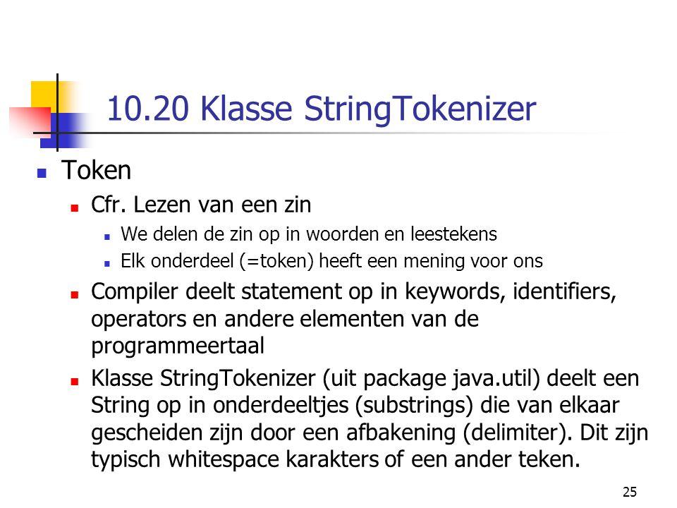25 10.20 Klasse StringTokenizer Token Cfr.
