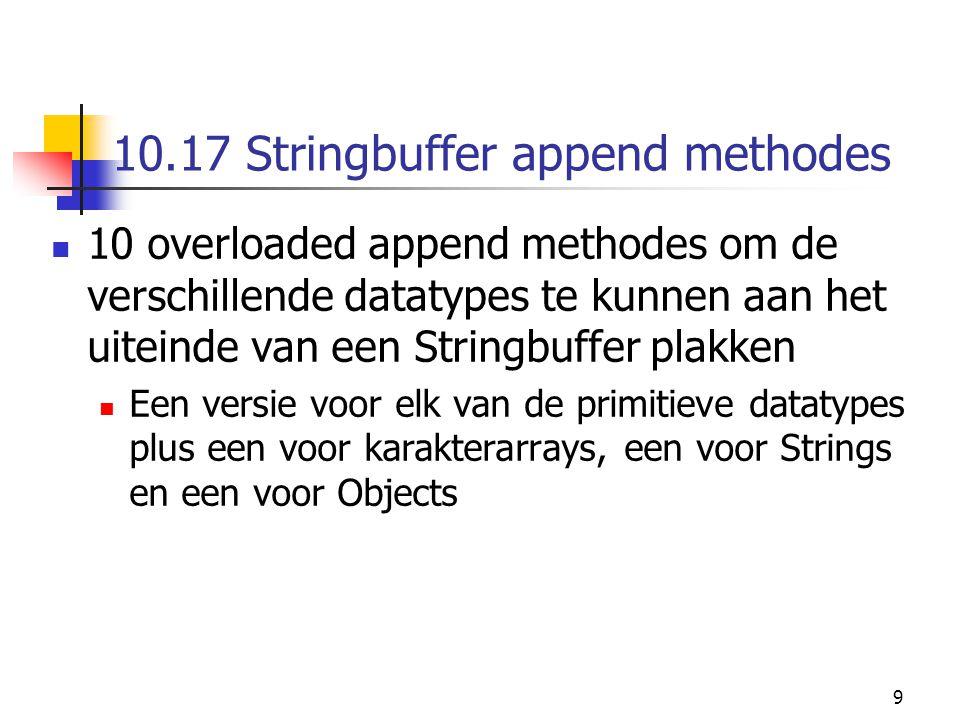 9 10.17 Stringbuffer append methodes 10 overloaded append methodes om de verschillende datatypes te kunnen aan het uiteinde van een Stringbuffer plakken Een versie voor elk van de primitieve datatypes plus een voor karakterarrays, een voor Strings en een voor Objects