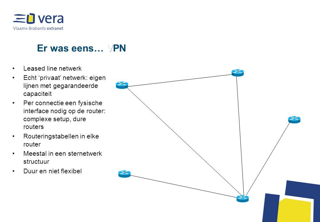 Toen kwam er… VPN – Frame Relay (1) De backbone wordt 'gevirtualiseerd' De locaties worden niet meer rechtstreeks op elkaar aangesloten, sites komen op de backbone Per site een leased line naar de dichtste POP PVC (permanent virtueel circuit) wordt doorheen de backbone vastgelegd van site naar site Virtueel circuit = geen vaste capaciteit (gedeeld met andere connecties) VPN geschikt voor alle protocollen