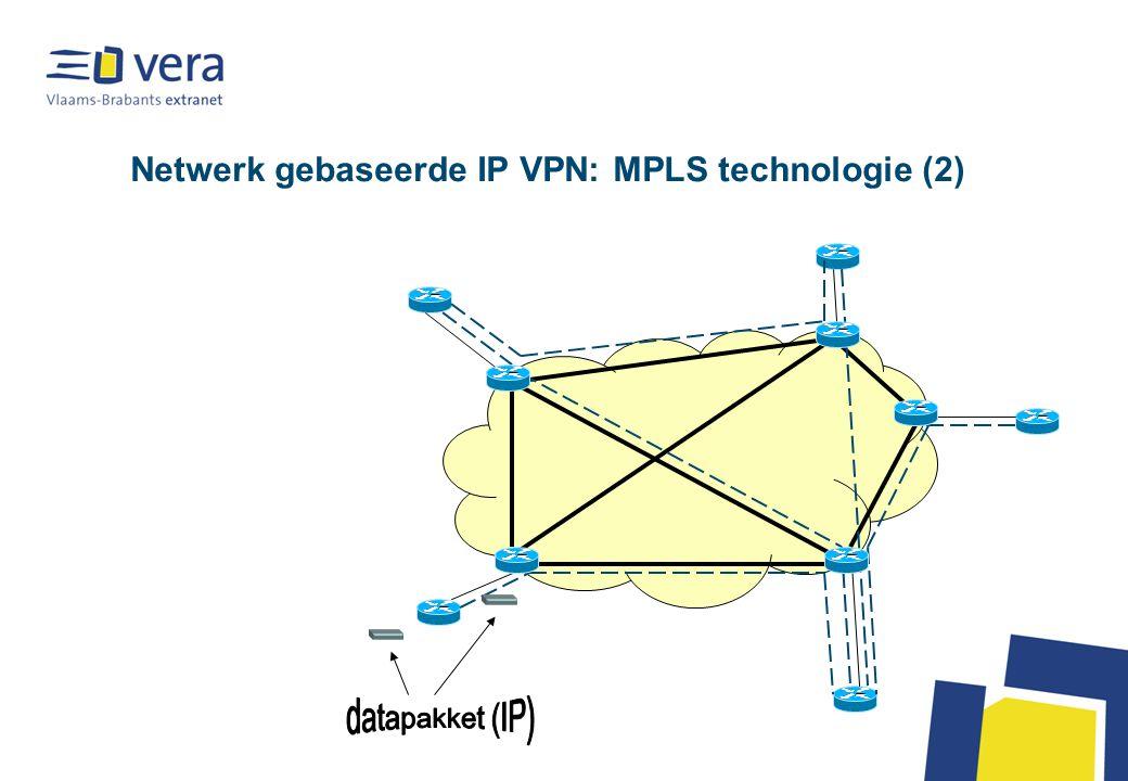 Conclusie voor IP VPN Netwerk gebaseerd –Beste garantie voor kwaliteit, SLA's mogelijk (oplossing volledig beheerd door 1 provider) –Beperkingen voor kleine sites: geen aansluitingen tegen zeer lage kost, enkel de duurdere vorm van breedbandverbindingen met vast IP adres rechtstreeks op de backbone Eindapparatuur gebaseerd: tunneling over publiek (Internet) of half-publiek netwerk –Lage kost voor kleine sites met goedkope breedbandaansluiting en lichte eindapparatuur –Meestal geen volledig beheer door 1 partij –Beheer van de VPN kan uitbesteed worden op basis van het beheer van de eindapparatuur, maar geeft dus geen garanties over de kwaliteit van de backbone –Goedkoopste variant met client tunneling software op de PC van de eindgebruiker, maar brengt een verborgen kost mee m.b.t.