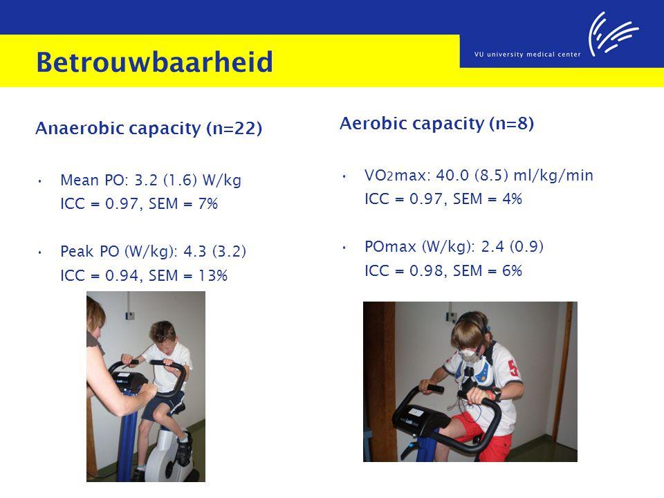 Betrouwbaarheid Anaerobic capacity (n=22) Mean PO: 3.2 (1.6) W/kg ICC = 0.97, SEM = 7% Peak PO (W/kg): 4.3 (3.2) ICC = 0.94, SEM = 13% Aerobic capacit