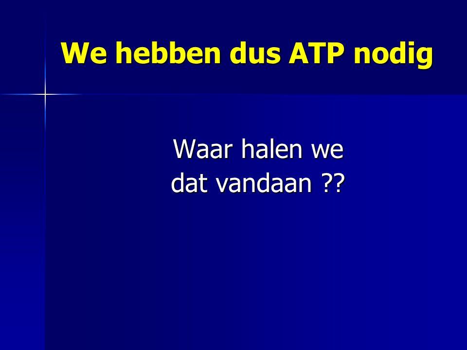 We hebben dus ATP nodig Waar halen we dat vandaan ??