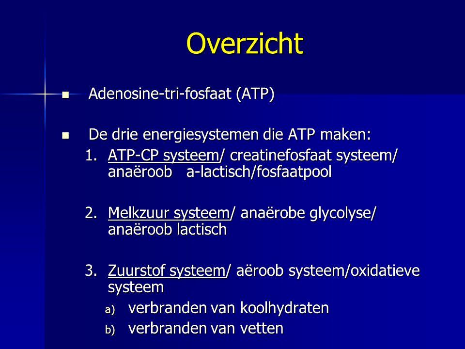 Overzicht Adenosine-tri-fosfaat (ATP) Adenosine-tri-fosfaat (ATP) De drie energiesystemen die ATP maken: De drie energiesystemen die ATP maken: 1.ATP-