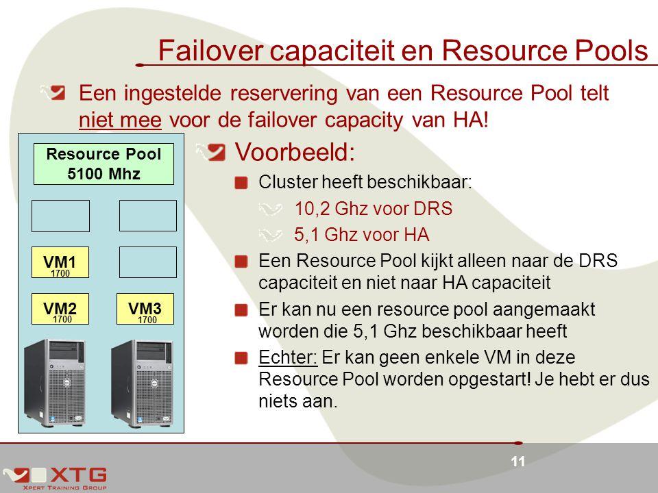 11 Failover capaciteit en Resource Pools Een ingestelde reservering van een Resource Pool telt niet mee voor de failover capacity van HA.