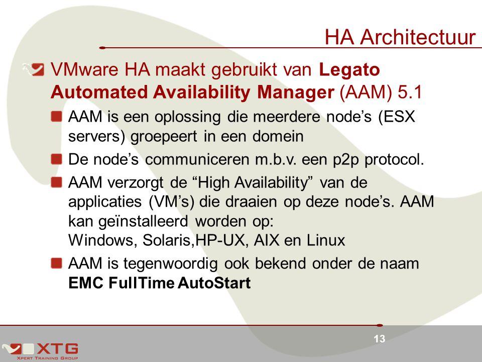 13 HA Architectuur VMware HA maakt gebruikt van Legato Automated Availability Manager (AAM) 5.1 AAM is een oplossing die meerdere node's (ESX servers) groepeert in een domein De node's communiceren m.b.v.