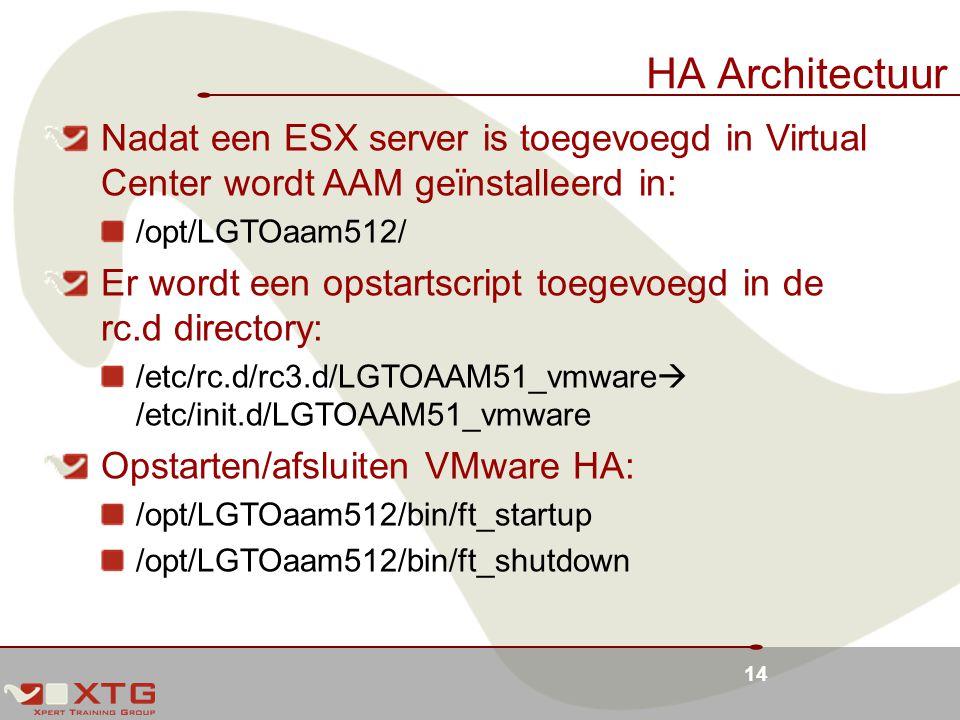 14 HA Architectuur Nadat een ESX server is toegevoegd in Virtual Center wordt AAM geïnstalleerd in: /opt/LGTOaam512/ Er wordt een opstartscript toegevoegd in de rc.d directory: /etc/rc.d/rc3.d/LGTOAAM51_vmware  /etc/init.d/LGTOAAM51_vmware Opstarten/afsluiten VMware HA: /opt/LGTOaam512/bin/ft_startup /opt/LGTOaam512/bin/ft_shutdown