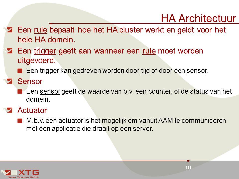 19 HA Architectuur Een rule bepaalt hoe het HA cluster werkt en geldt voor het hele HA domein.